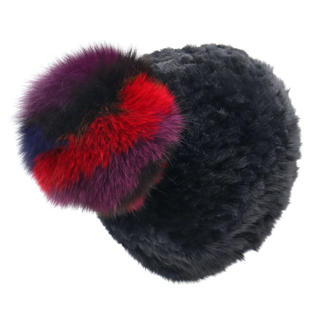 Sheared Genuine Rabbit Fur Textile Knit Stretchy Hat with Multi-Colored Genuine Fox Fur Pom