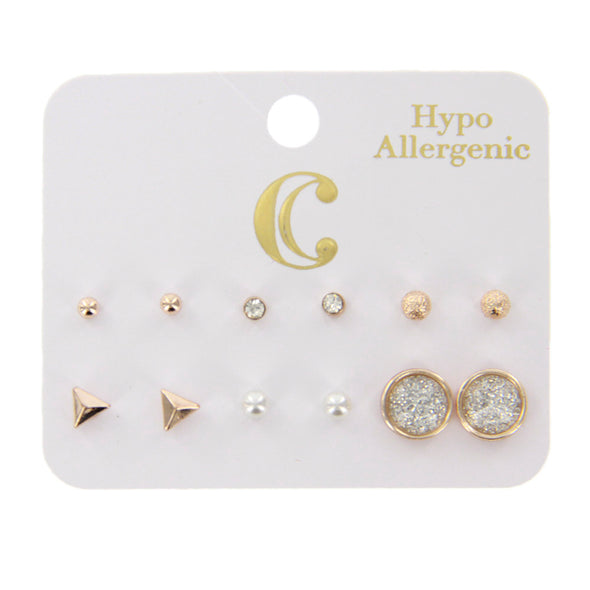 Round Glitter Pearl Stud Earrings - 6 Pairs, Rose Gold - Charming Charlie