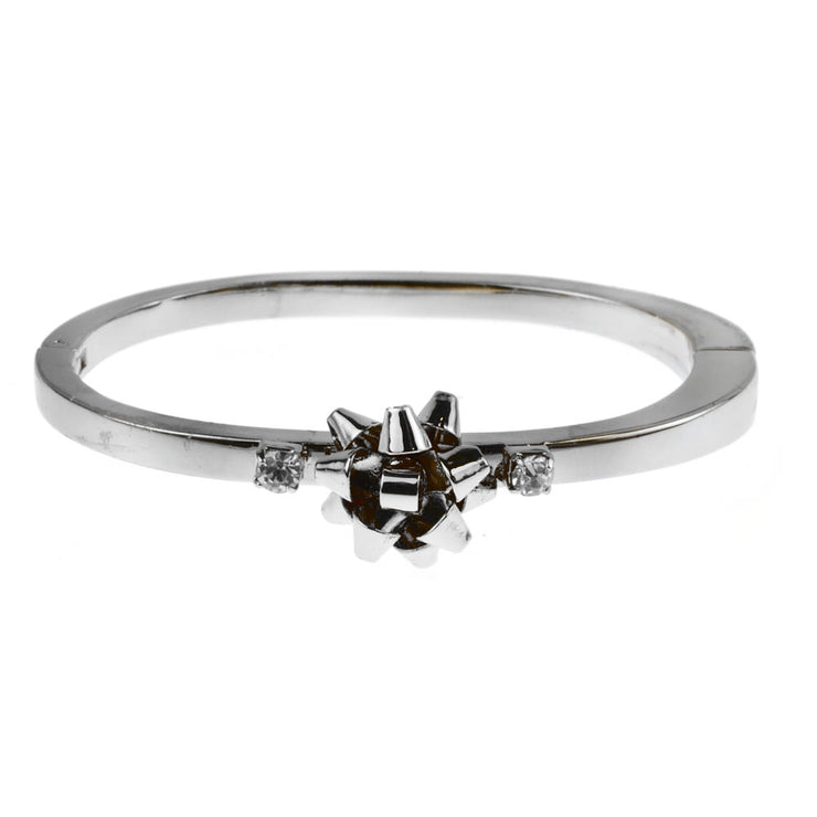Oval Bow Bracelet w/ Crystal Glass Stones - Silver - Charming Charlie