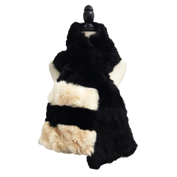 Genuine Long Haired Rabbit Fur Oversized Pull-Through Scarf with Black Polyetser Lining