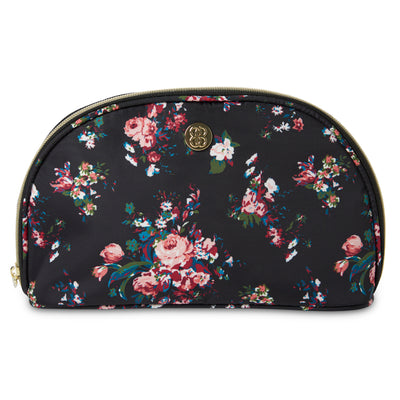 Designer Cosmetic Pyramid Case - Makeup Organizer, Black Floral - Charming Charlie