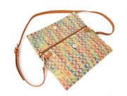 Multicolor Straw Foldover Clutch