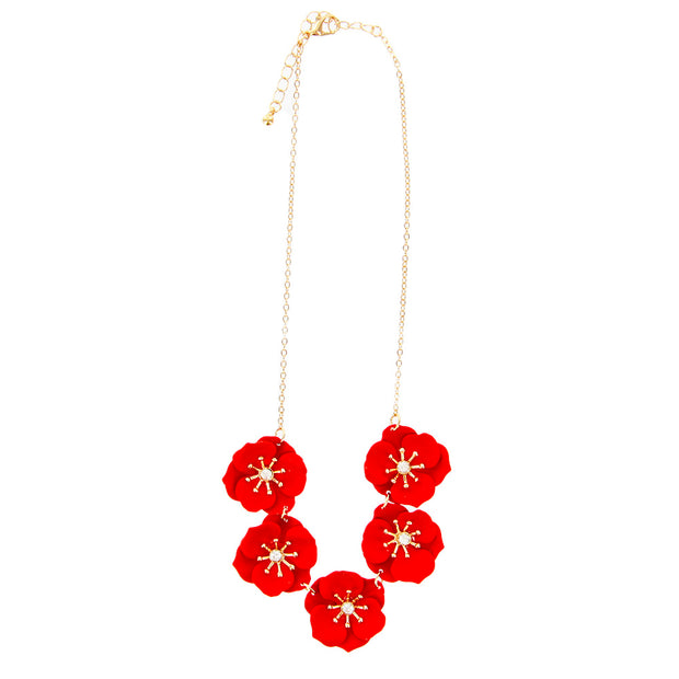 "16"" Painted Flowers Short Collar Jewelry Necklace - Red - Charming Charlie"
