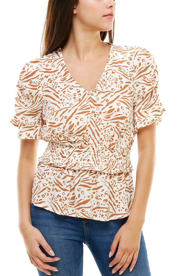 Smocked Waist Print Blouse - Charming Charlie