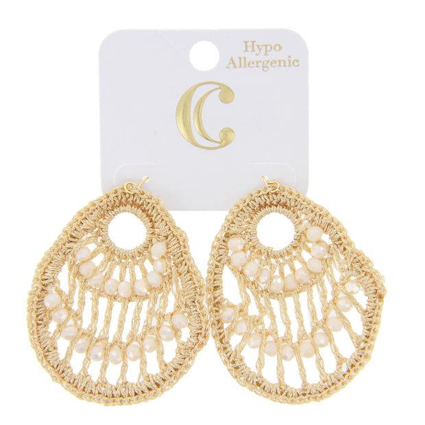 "2.5"" Teardrop Crochet Beads Dangle Earrings - Gold - Charming Charlie"