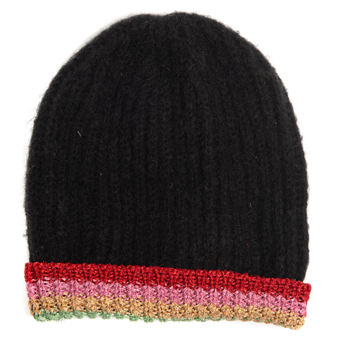 Winter Rainbow Beanie Hat - Rainbow Shine Cuff - Black