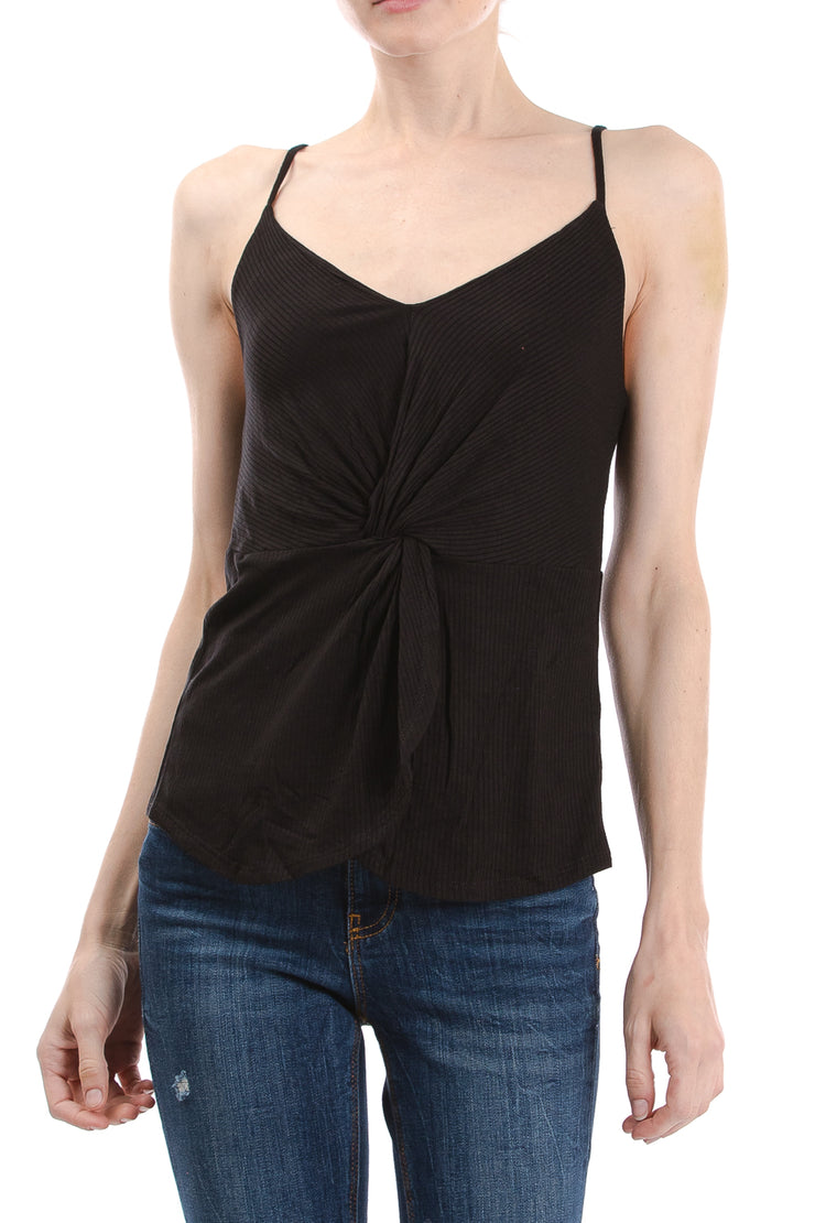 V-Neck Twist Front Cami, Black