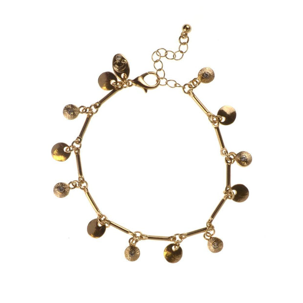 "7.5"" Casted Drops Glass Stone Charm Bracelet - Gold"