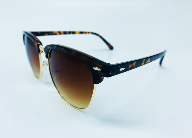 Classic Clubmaster Sunglasses - Brown & Gold