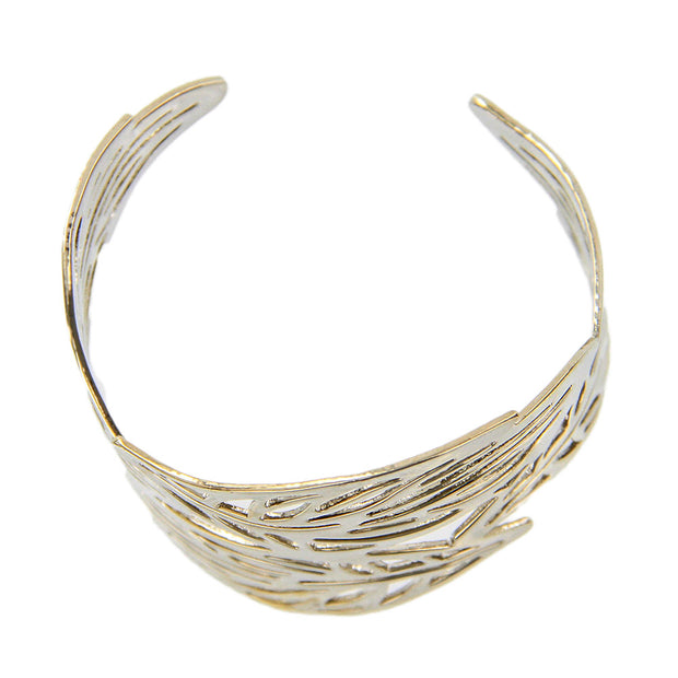 Carved Leaves Open Cuff Bracelet - Adjustable - Silver - Charming Charlie
