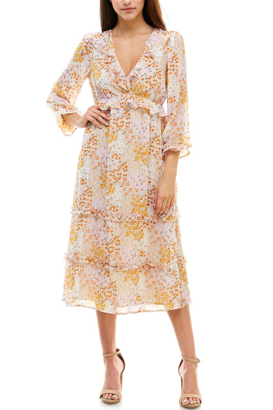 Ruffle Floral Print Tiered Midi Dress - Charming Charlie