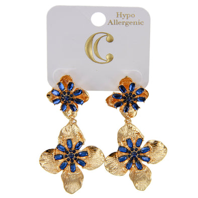 "2.5"" Rhinestone and Flower Drop Earrings - Blue/Gold - Charming Charlie"