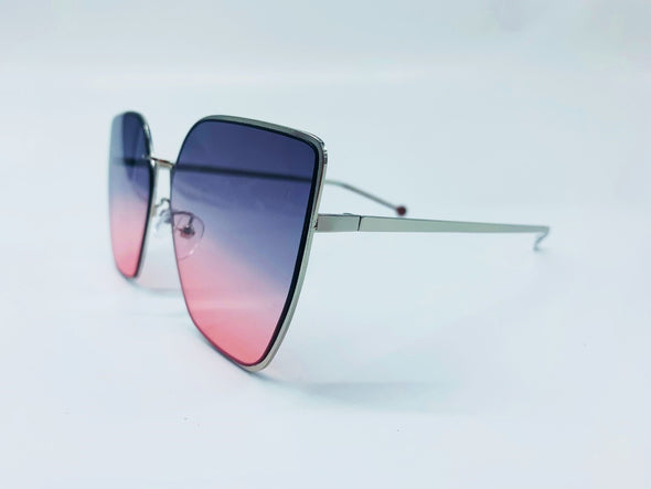 Metal Frame Gradient Lens Cat Eye Sunglasses - Purple & Silver