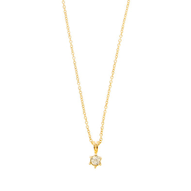 Tiny Delicate Rhinestone Pendant Necklace - Gold