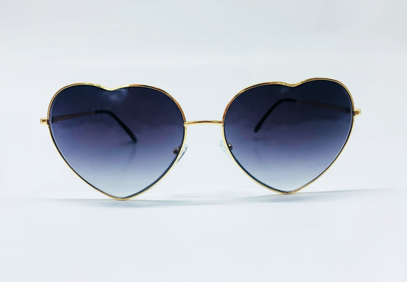 Oversized Novelty Heart Metal Frame Sunglasses - Black & Gold