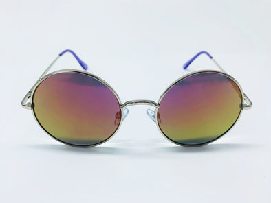 Colorful Flash Lens Round Metal Sunglasses - Pink & Gold