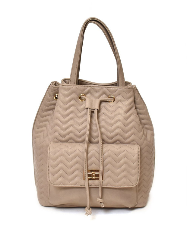 Chevron Quilted Drawstring Bag