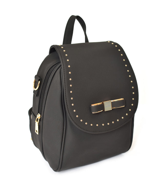 Bow Front Stud Detailed Backpack - Charming Charlie