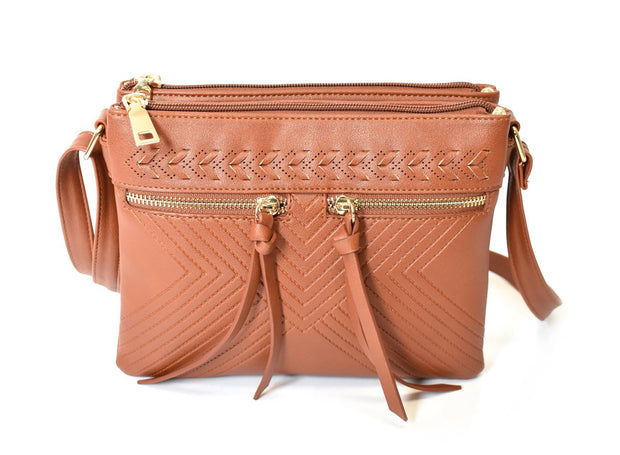 Multi-Compartment Whipstitch Crossbody