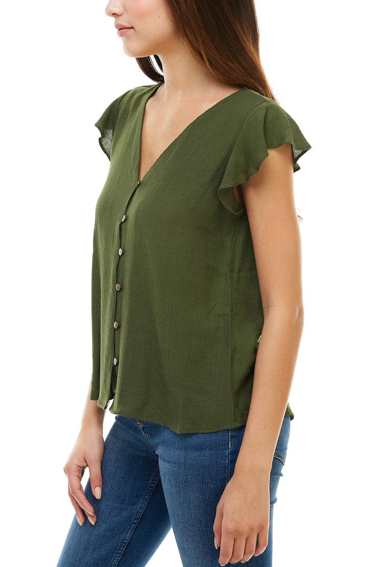 Button Front Ruffle Short Sleeve Blouse - Charming Charlie