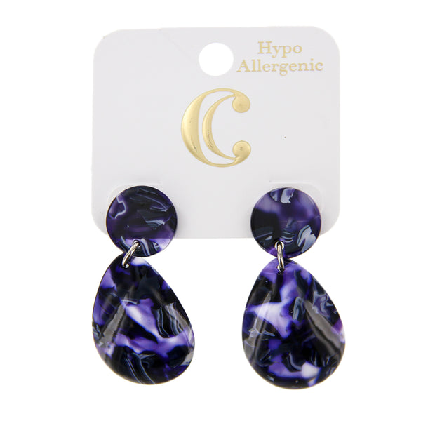 "1.75"" Resin Post Teardrop Fashion Earrings"