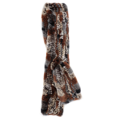 Brown Multi-Colored Genuine Rex Rabbit Fur Straight Skinny Pull-Through Scarf