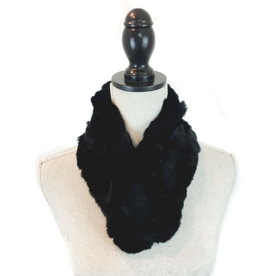 Black Genuine Rex Rabbit Fur Chain Scarf with Rabbit Pom Closure
