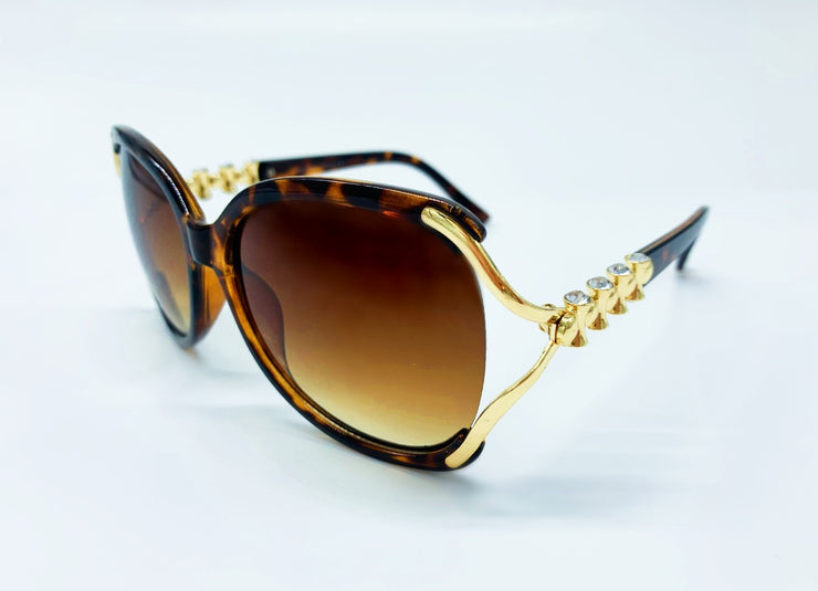 Metal and Rhinestone Detailed Arm Sunglasses - Brown