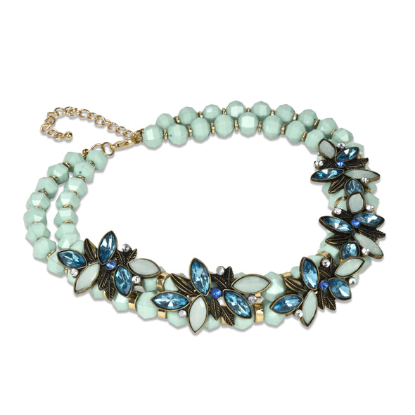 Stone and Beaded Statement Collar Necklace