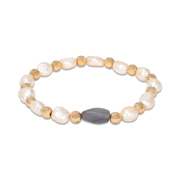 Faux Pearl with Gold Accents Stretch Bracelet