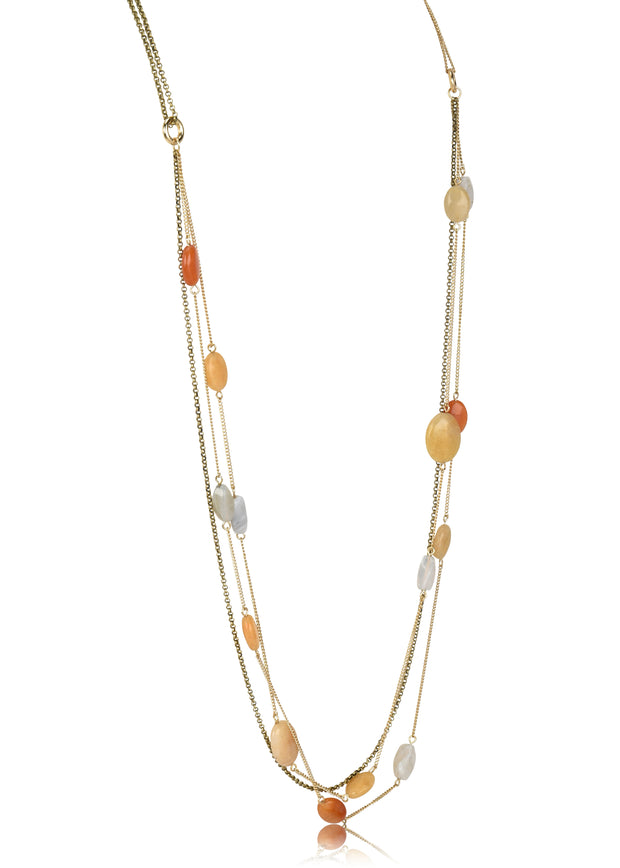 Triple Layered Multi Color Stone Necklace
