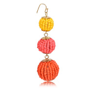 Colorful Seedbead Ball Drop Earrings