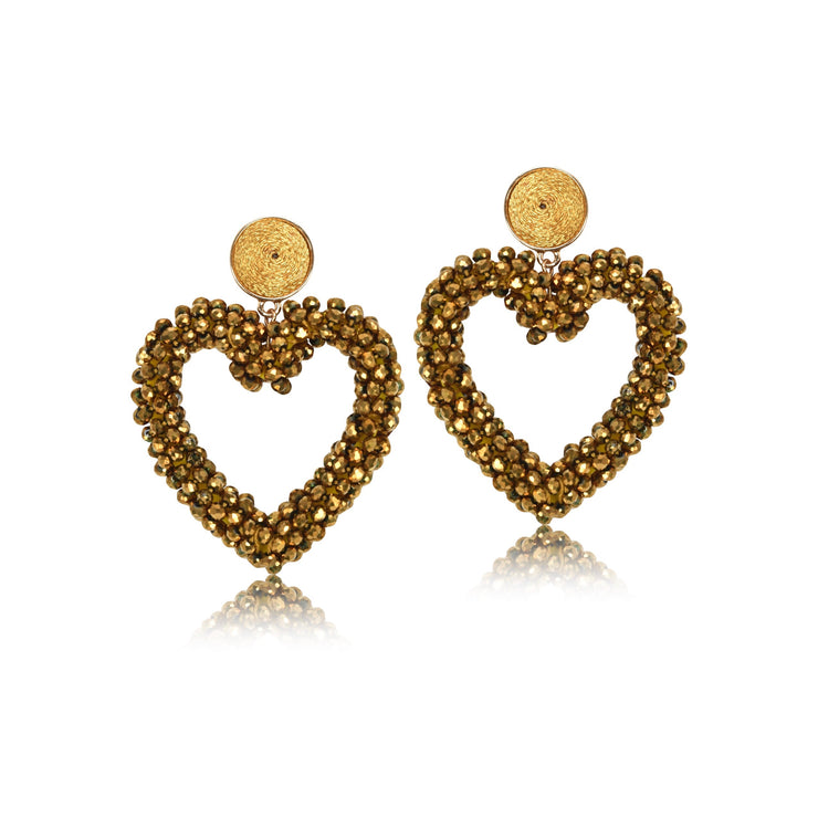 Beaded Heart Drop Earrings
