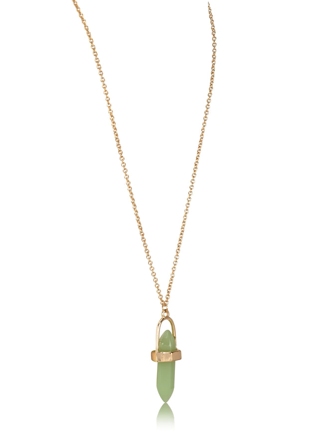 Gem Stone Drop Short Pendant Necklace