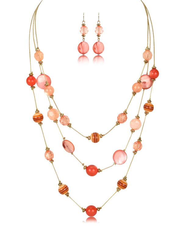 Illusion Beaded Necklace & Earring Set