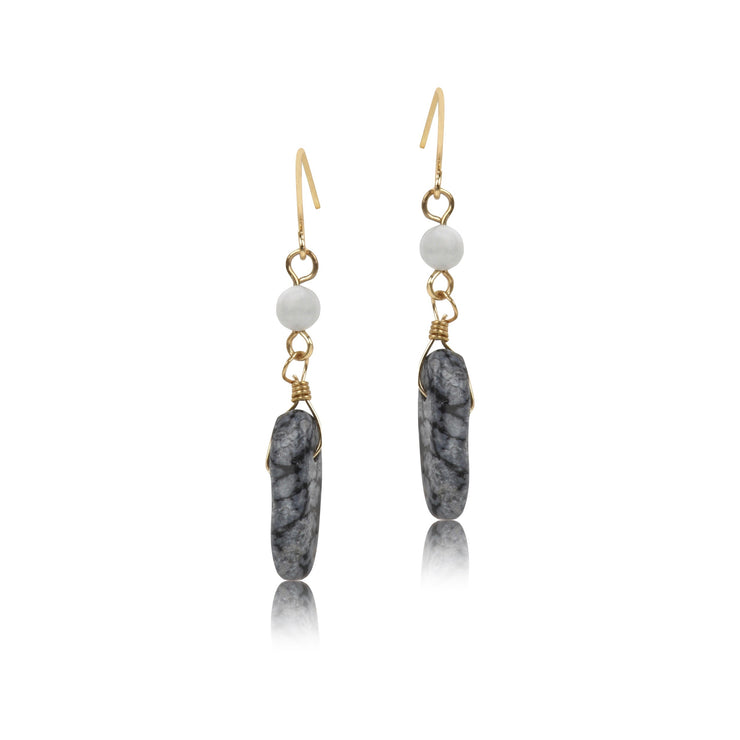 Organic Stone and Bead Dangle Earrings