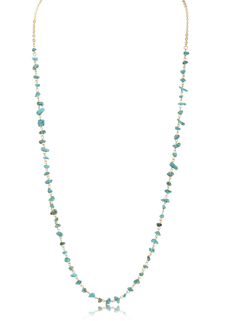 Turquoise Stone Nugget Single Chain Necklace