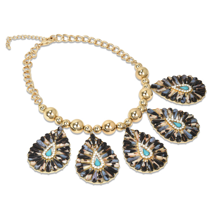 Large Stoned Teardrop Statement Collar Necklace