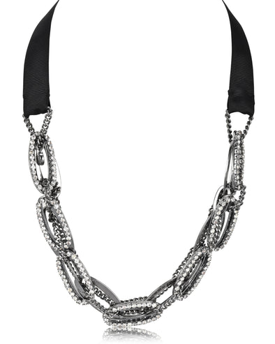 Rhinestone Encrusted Chain Collar Necklace with Adjustable Tie Back