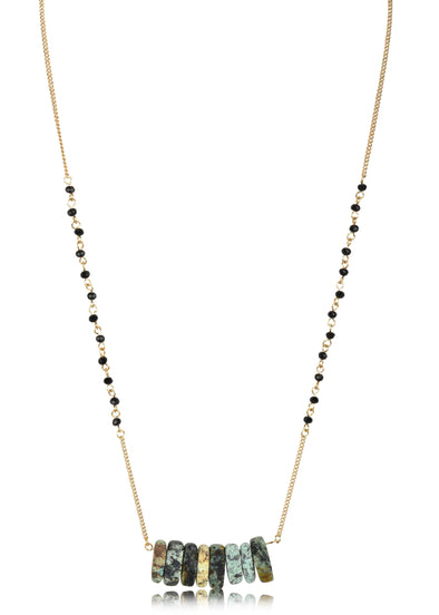 Beaded Chain and Stacked Stone Short Pendant Necklace