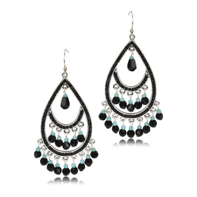 Beaded Teardrop Hook Dangle Earrings
