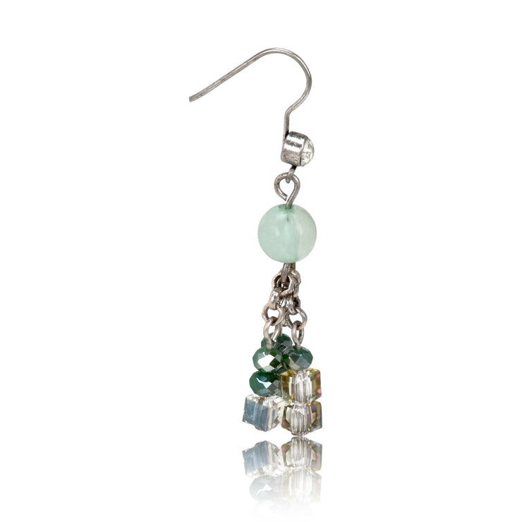 Beaded and Stone Hook Dangle Earrings