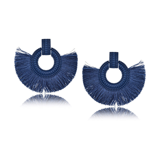Fanned Statement Fabric Tassel Earrings