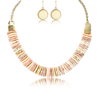 Neutral Disc Collar Necklace & Earrings Set