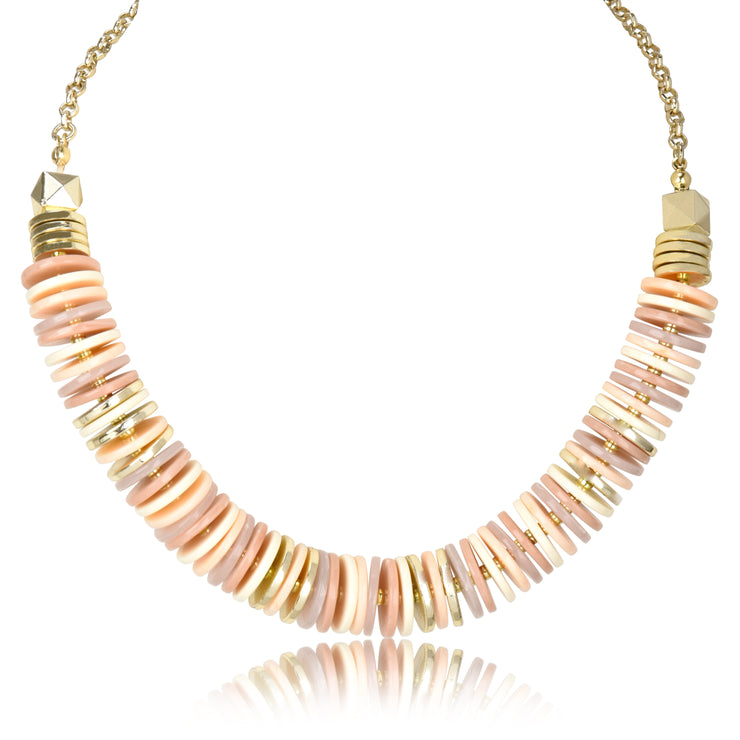 Neutral Disc Collar Necklace & Earring Set