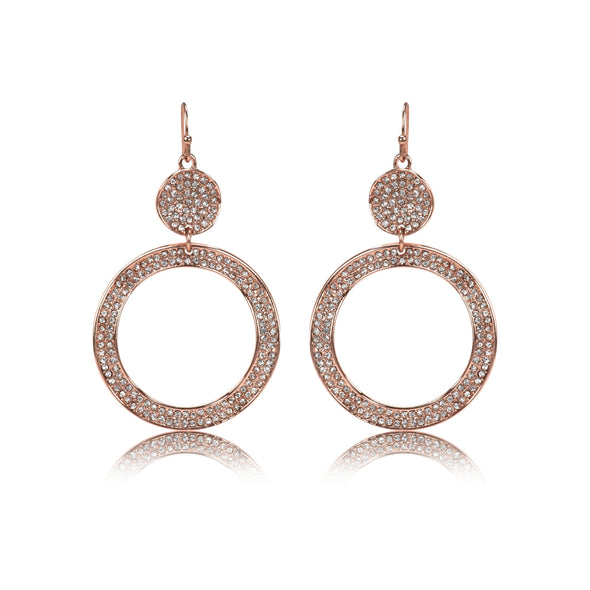 Allover Rhinestone Double Round Dangle Earrings