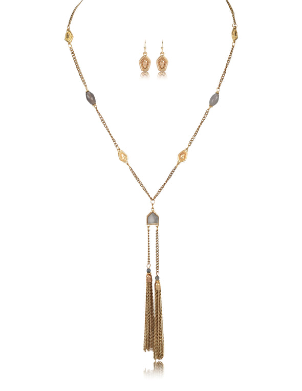 Long Chain Double Metal Tassel Necklace & Earrings Set