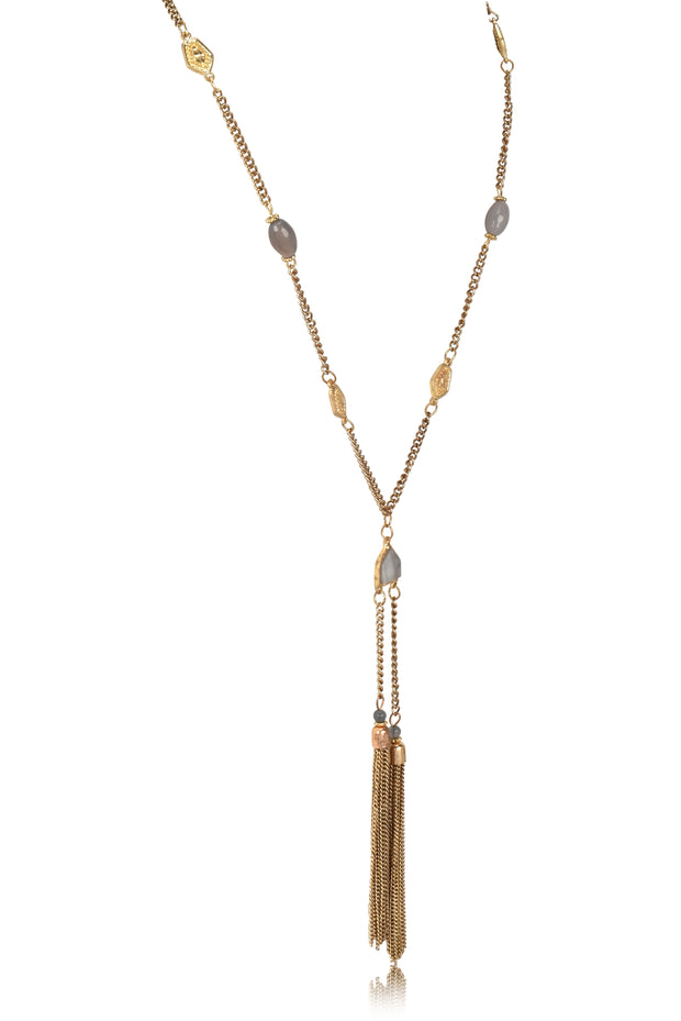 Long Chain Double Metal Tassel Necklace & Earring Set