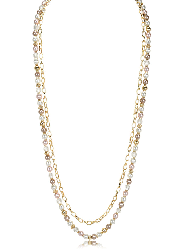 Double Layered Chain and Faux Pearl Necklace