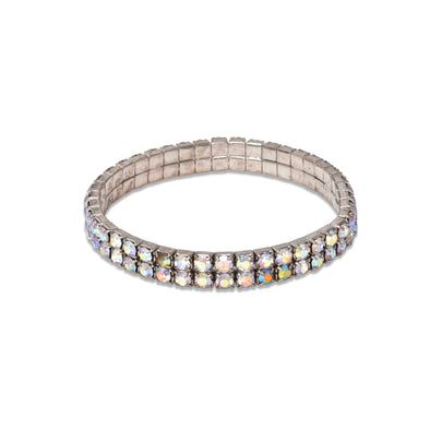 Double Layered Gem Stretch Bracelet